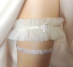 Tulle Rhinestone Wedding Garter Bridal Garter by THEFAIRYTHINGS