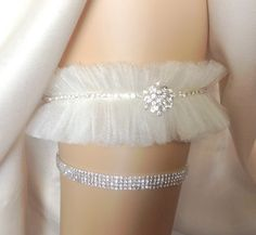 Tulle Rhinestone Wedding Garter Bridal Garter by THEFAIRYTHINGS