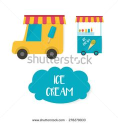 ice cream cart, vector ice cream - stock vector