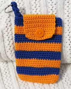 Orange and Blue Crocheted Cell Phone Cover with Key by luvncrafts