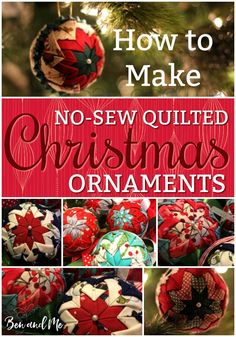 How to make homemade quilted Christmas ornaments - no sewing required. These beautiful ornaments make wonderful gifts for friends and family. Make them with your tweens and teens for loads of family fun!