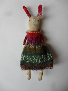 Melodie Stacey - Pia - Handmade Folk Art Rabbit doll - one of a kind