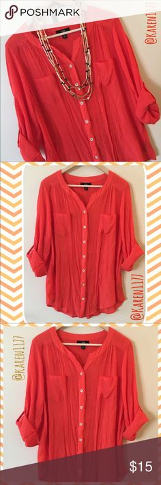 Just In🍃AGB Woman's Button Down Top🍃 Beautiful preloved Top in Great conditions. Cuffed 3/4 sleeves. Beige buttons. It's an Orange/tomato Red  Color. It's great for any season, light for spring and summer, Great layering for fall and winter.‼️Necklace NOT included, But Available‼️ AGB Tops Button Down Shirts