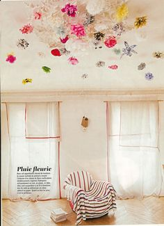 paper flowers on ceiling. marie claire maison