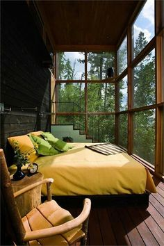 Sleeping Porch in Stone Creek Camp - contemporary retreat designed by Andersson Wise Architects situated in Bigfork, Montana Outdoor Bedroom, Outdoor Living, Outdoor Rooms, Indoor Outdoor, Style At Home, Interior Exterior, Interior Design, Room Interior, Modern Interior