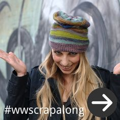 scrapalong free Hat knitting pattern for yarn oddments and leftovers