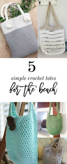 Check out these 5 FREE crochet tote bag patterns that are perfect for the beach! Just think, no more sand filled bags! Make one or all of these today!