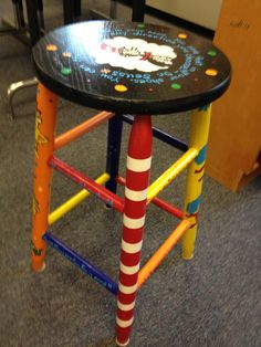 Another stool I painted for my dr Seuss classroom! Let me know if anyone is interested in having me paint one for you! I can paint anything on unfinished furniture for you! Teacher Stools, Classroom Stools, Classroom Furniture, Classroom Themes, Kids Furniture, Painted Stools, Wooden Bar Stools, Foot Stools, Painted Wood