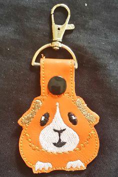 Guinea Pig Key Chain snap tab key fob by SusiesSpot on Etsy