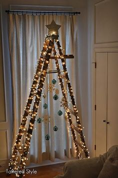 Cute idea for a tree.  Would work outside, too.