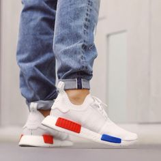 Mondrian white blue red sneakers