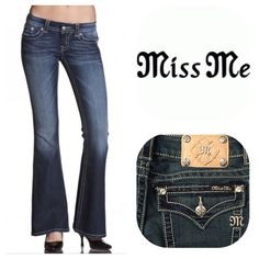 "Miss Me Signature Flare Jean Miss Me Signature Flare Jean.  JE8300F2R.  72% cotton, 27% polyester, 1% elastane.  Approx 14"" waist, 7-1/2"" rise, 32"" inseam.  Belt loops, 5 pockets, zip fly.  Medium Blue Wash. (Last pic is truest color).  ///////NWOT///////.  (2) Miss Me Jeans"