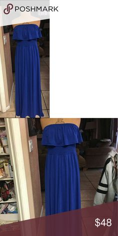 COBALT BLUE STRAPLESS COTTON MAXI....SIZE LARGE COTTON ROYAL ELECTRIC BLUE, EASY TO CARE FOR FABRIC IN EXCELLENT CONDITION...SMALL TO  LARGE.. torrid Dresses Maxi