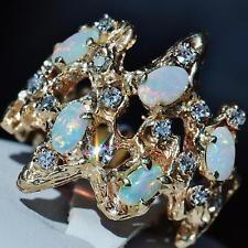 14k yellow gold 1.30ct Australian fiery opal & diamond sz 7.25 nugget ring 8.9gr
