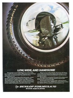 Dunlop Formula 70 Tyres, Vintage Advertisment 1973, Aquajet, Radial, Wall Art, Print, Home, Commercial,Decor,Collectible