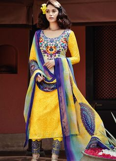Yellow and Blue Colour #Lawn #Cotton #StraightCut #Casualwear #Suit.