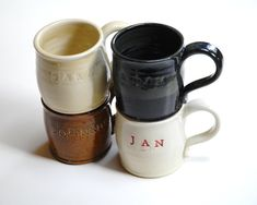 Pottery name mugspersonalized mugsfamily cupspottery by Emburr