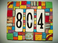 70 Modern and Affordable DIY Door Name Plates Ideas - Banning News Tile Crafts, Mosaic Crafts, Mosaic Projects, Wood Crafts, Pottery Houses, Ceramic Houses, Door Name Plates, Ceramic House Numbers, Mosaic Madness