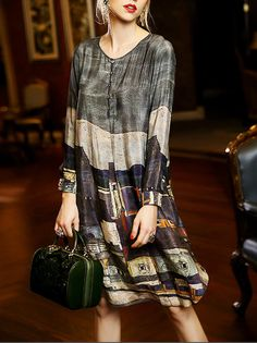Shop Midi Dresses - Multicolor Shift Long Sleeve Midi Dress online. Discover unique designers fashion at StyleWe.com.