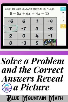 Are you looking for an interactive and self-correcting resource to practice solving one variable equations with your students? There are 16 digital task cards solving multi-step equations with variables on both sides. Students start with the picture totally covered by the answer boxes. As they answer each question correctly, more and more of the covered picture is revealed.