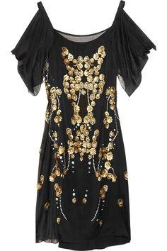 Dalia embellished silk-georgette dress  by Temperley London