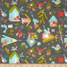 It's A Bird's Life Songbird Village Iron from @fabricdotcom  Designed by Heather Rosas for Camelot Fabrics, this fabric is perfect for quilting, apparel and home decor accents. Colors include shades of green, blue, orange, peach, red, green, and black on a medium grey background.
