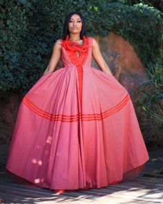Africa styles showcases the most beautifulTraditional Shweshwe Designs For Africanmade by the most talented designers outstanding African Outfits, African Print Dresses, African Prints, African Fabric, African Dress, African Beauty, African Women, African Traditional Wear, Xhosa
