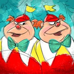 Tweedle Dee and Teedle Dum by Steve Thompson - Alice in Wonderland Drawing Cartoon Characters, Character Drawing, Cartoon Drawings, Alicia Wonderland, Alice In Wonderland Artwork, Disney And Dreamworks, Disney Pixar, Disney Characters, Disney Princes