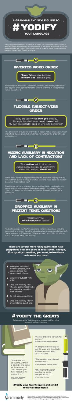 INFOGRAPHIC: Yodify your language and grammar using this Star Wars-inspired infographic.