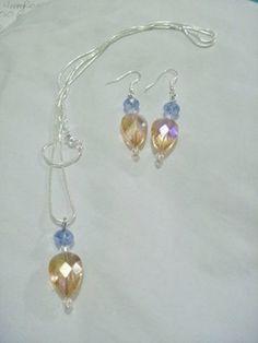 Crystal Swarovski Earrings & Matching Pendant Necklace Set