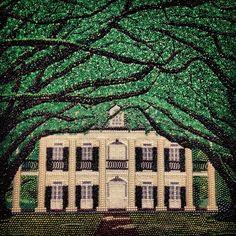 Oak Alley plantation bead art at @mardi_gras_world! plantation oakalley louisiana art mardigras beads