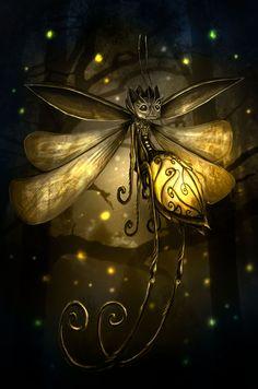 thefairycircle: (via Luciole Picture by Romain Sureau RomainSureau) This fancy little fae lightning bug tickles me. Magic Creatures, Fantasy Creatures, Mythical Creatures, Fantasy World, Fantasy Art, Digital Art Gallery, Image Digital, Fairy Art, Mellow Yellow