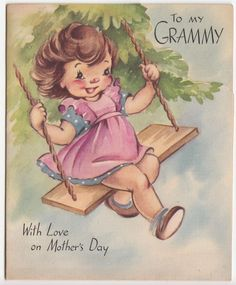 Vintage Greeting Card Girl Swing Grammy Mother's Day Rust Craft 1940s j085
