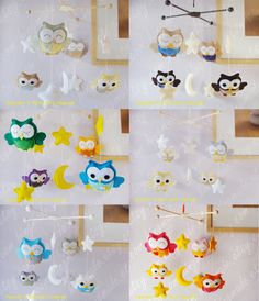 (inspiration for a DIY Totoro mobile) Baby Mobile - Nursery Mobile - Felt Mobile - Modern Mobile - Bird Owl Mobile - Blue Owls in a Yellow starry night(U can pick your colors). $98.00, via Etsy. @Alexis Holfeltz Flowers