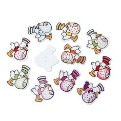 New 50 Mixed Wood Buttons Scrapbooking Print Duck With Baby 2 Holes 3.3 x3cm #new