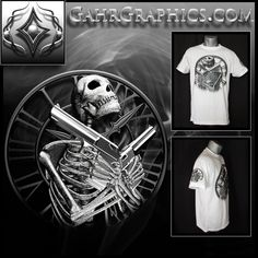 A t-shirt design from GahrGraphics.com featuring a skeleton, guns and clock.  Printed on Vapor Apparel using dye sublimation printing.