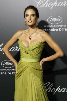 Alessandra Ambrosio in Elie Saab dress and wearing Chopard jewelry at Chopard party at 2014 Cannes Film Festival.