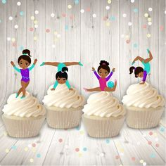 Gymnastics Birthday, Baby Birthday, Birthday Ideas, Gymnastics Suits, 12 Cupcakes, Personalized Labels, Birthday Party Invitations, Party Themes, Centerpieces
