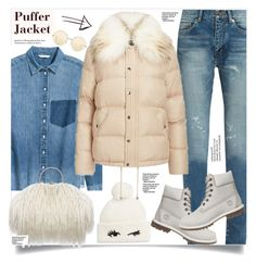 """""""MissSelfridge Puffer"""" by anne-irene ❤ liked on Polyvore featuring Yves Saint Laurent, Kate Spade, Miss Selfridge, Timberland and Victoria Beckham"""