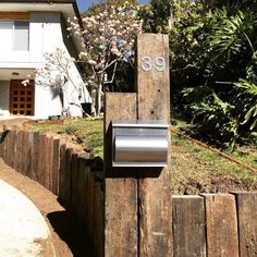 Our new letterbox - recycled railway sleepers. Our new letterbox - recycled railway sleepers. Garden Ideas Using Railway Sleepers, Sleepers Garden, Rustic Mailboxes, Rustic Canyon, Diy Mailbox, Australian Native Garden, Timber Fencing, Outdoor Trees, Yard Furniture