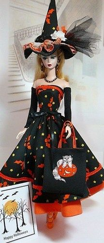 Barbie Halloween, Halloween Fashion, Halloween Dress, Vintage Barbie Clothes, Doll Clothes Barbie, Doll Clothes Patterns, Barbie Costumes, Doll Costume, Witch Dolls