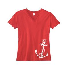 Nautical Red V Neck with Anchor Screenprint / by MyFavoriteTee, $18.00