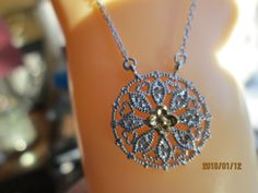 Vintage  .10ctw Genuine SI1 Diamond .925 Sterling Silver w/ 14KT Gold Lavalier Necklace Signed WAN, 19 Inches, Wt. 3.9g