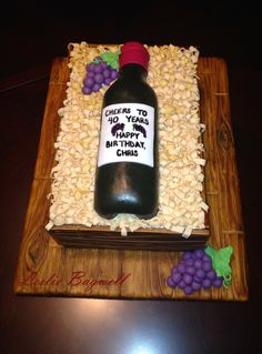Wine Bottle Cake - All Edible Wine Theme Cakes, Themed Cakes, Wine Bottle Cake, Wine Bottles, Cakes For Men, Unique Cakes, Cake Creations, Let Them Eat Cake, Cupcake Cakes