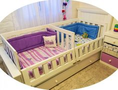 CunaFuncionalMellizosThumbail Twin Baby Beds, Toddler Bunk Beds, Twin Babies, Baby Cribs, Baby Bedroom, Kids Bedroom, Rainbow Room, Childrens Beds, Child Room