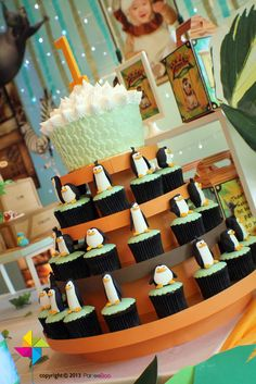 Awesome cake and cupcakes at a Madagascar party!  See more party ideas at CatchMyParty.com!  #partyideas #madagascar