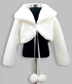 Girls faux fur long sleeve bolero formal jacket in ivory white. Girls Dresses, Flower Girl Dresses, Formal Dresses, Pom Pom Jackets, Faux Fur Bolero, White Fur, Ivory White, Formal Jacket, Bolero Jacket