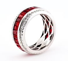 Sonia B Ruby Diamond Ring | From a unique collection of vintage band rings at http://www.1stdibs.com/jewelry/rings/band-rings/