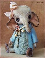 by Alla Bears artist Old Antique Vintage Elephant home pillow art doll OOAK baby