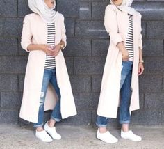 pink-long-jacket-hijab-style- Winter hijab fashion outfits http://www.justtrendygirls.com/winter-hijab-fashion-outfits/